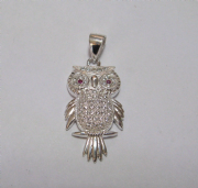 Sterling Silver Micro pave Cubic Zirconia Owl pendant